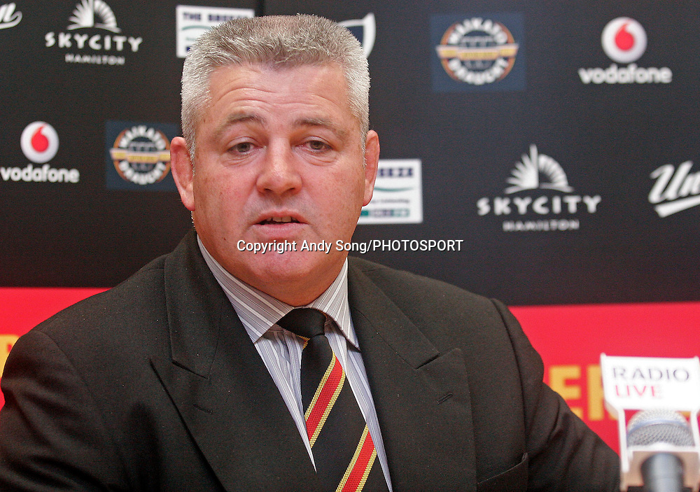 Waikato coach Warren Gatland speaks at the media conference after the Air New Zealand Cup week 3 rugby union match between Waikato and Canterbury at Waikato Stadium in Hamilton, New Zealand on Friday 11 August 2006. Photo: Andy Song/PHOTOSPORT