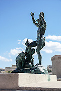 Marseille, France, The Bear Trainer Playing Tambourine Bronze Sculpture by Louis Botinelly (1911)