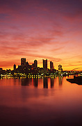 Pittsburgh, PA, Skyline, Allegheny Co., Ohio River, Sunrise