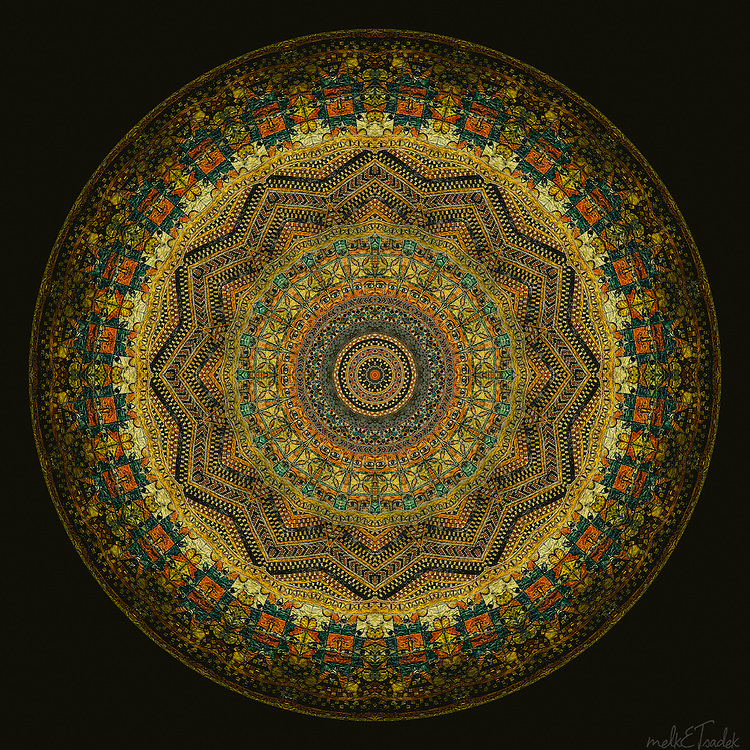 "Sacred art mandala inspired by ancient manuscripts with colors ranging from orange-gold to emerald green and geometrically ""feng shui-ed"" tailsmanic symbols from Ethiopia."
