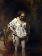 A Woman Bathing in a  Stream', 1654. Oil on oak. Rembrandt van Rijn (1606– 1669 ) Dutch painter and etcher. Model thought to be Hendrickje Stoffels (c1625/6-1663) Rembrandt's common-law wife.