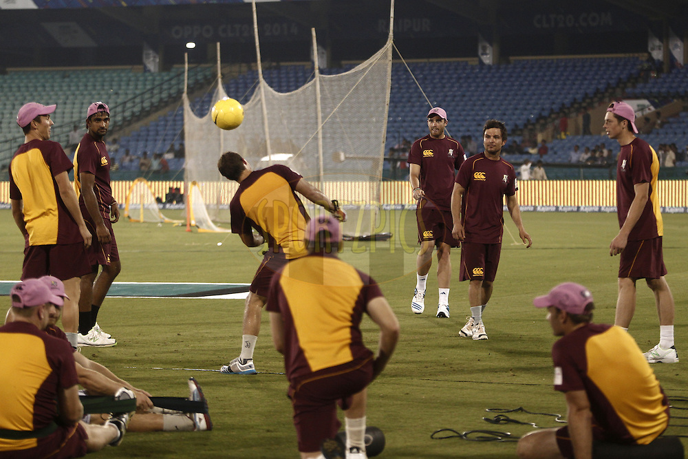 NORTHERN KNIGHTS Players during warm up before match 3 of the Oppo Champions League Twenty20 between the Cape Cobras and the Northern Knights held at the Chhattisgarh International Cricket Stadium, Raipur, India on the 19th September 2014<br /> <br /> Photo by:  Deepak Malik / Sportzpics/ CLT20<br /> <br /> <br /> Image use is subject to the terms and conditions as laid out by the BCCI/ CLT20.  The terms and conditions can be downloaded here:<br /> <br /> http://sportzpics.photoshelter.com/gallery/CLT20-Image-Terms-and-Conditions-2014/G0000IfNJn535VPU/C0000QhhKadWcjYs