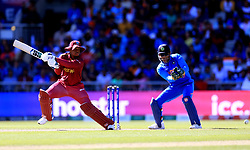 West Indies' Shimron Hetmyer in batting action during the ICC Cricket World Cup group stage match at Emirates Old Trafford, Manchester.