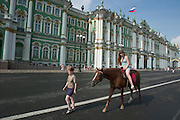 The former Winter Palace of the Czars, now home to a part of the Hermitage (Eremitage) Museum. Horse back riding for toursists...A river cruise from Moscow to St. Petersburg aboard MS Kazan, the most luxurious vessel (four star plus) operating in Russia. It is run by Austrian River Cruises under strictly Western standards, chartered - amongst others - by Club 50, a senior's travel agency based in Vienna.