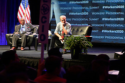 Democratic Presidential hopefuls former Vice-President Joe Biden, Sen. Bernie Sanders, Sen Amy Klobuchar, Rep. Tim Ryan, businessmen Tom Steyer and Andrew Yang and author Marianne Williamson speak at the Philadelphia Council AFL-CIO Workers' Presidential Summit, at the Pennsylvania Convention Center in Philadelphia, PA, on September 17, 2019.
