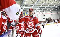 2020-02-12 | Ljungby, Sweden: Troja-Ljungby (21) Karl Olofsson celebrating a goal during the game between IF Troja / Ljungby and Huddinge IK at Ljungby Arena ( Photo by: Fredrik Sten | Swe Press Photo )<br /> <br /> Keywords: Ljungby, Icehockey, HockeyEttan, Ljungby Arena, IF Troja / Ljungby, Huddinge IK, fsth200212, ATG HockeyEttan, Allettan