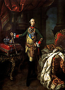 Portrait of Peter III', 1762.  Oil on canvas. Alexei Petrovich Antropov (1716-1795) Russian painter. Peter III (1728-1762) Emperor of Russia January to July 1762.  Full-length portrait. Military Uniform Crown Orb Sceptre Ermine Sword Royalty