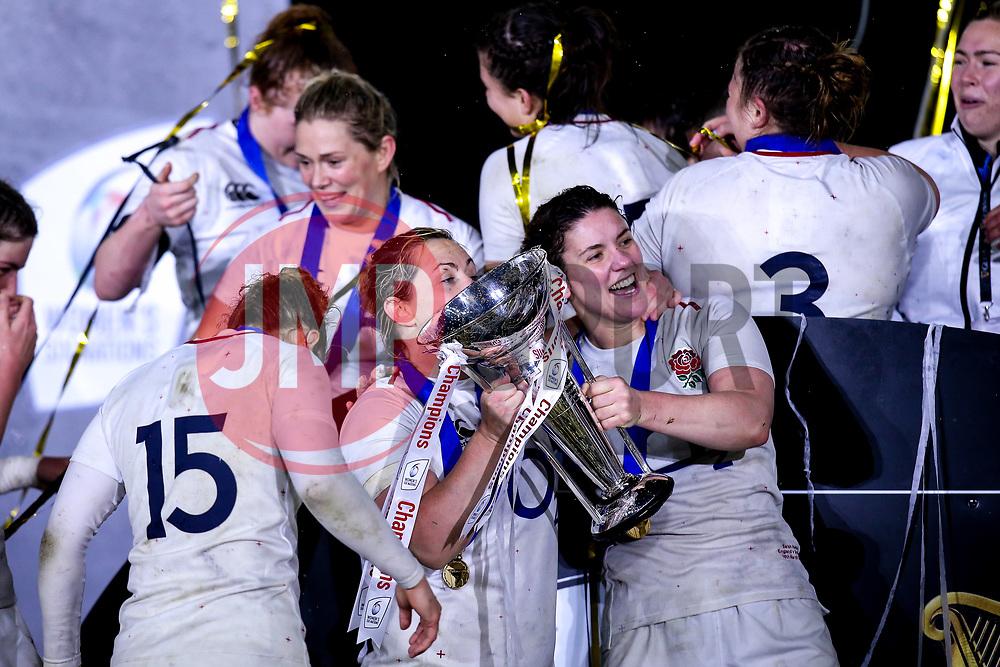 Marlie Packer and Sarah Hunter of England Women celebrate winning the Women's Six Nations and Grand Slam - Mandatory by-line: Robbie Stephenson/JMP - 16/03/2019 - RUGBY - Twickenham Stadium - London, England - England Women v Scotland Women - Women's Six Nations
