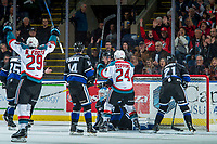 KELOWNA, CANADA - DECEMBER 30: Kyle Topping #24 scores a second period goal as Nolan Foote #29 of the Kelowna Rockets throws his hands in the air to celebrate  on December 30, 2017 at Prospera Place in Kelowna, British Columbia, Canada.  (Photo by Marissa Baecker/Shoot the Breeze)  *** Local Caption ***