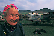 Nomad with moving wagons<br /> Eastern Mongolia