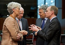 Luc Frieden, Luxembourg's finance minister, right, speaks with (from left to right) Christine Lagarde, France's finance minister, Philippe Maystadt, president of the European Investment Bank, and Didier Reynders, Belgium's finance minister, during the emergency meeting of European Union finance ministers in Brussels, Belgium, on Sunday, May 9, 2010. (Photo © Jock Fistick)