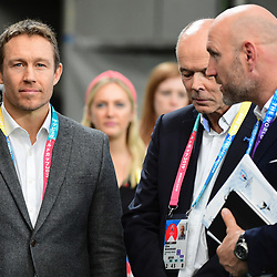 Former England international Jonny WILKINSON (left), former England coach Sir Clive WOODWARD (centre) and former England international Lawrence DALLAGLIO (right) during the Rugby World Cup 2019 Quarter Final match between England and Australia on October 19, 2019 in Oita, Japan. (Photo by Dave Winter/Icon Sport) - Jonny WILKINSON - Oita Stadium - Oita (Japon)