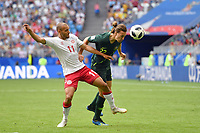 Martin BRAITHWAITE (DEN), Aktion,Zweikampf gegen Jackson IRVINE (AUS). Daenemark (DEN) - Australien (AUS) 1-1, Vorrunde, Gruppe C, Spiel 22, am 21.06.2018 in Samara,Samara Arena. Fussball Weltmeisterschaft 2018 in Russland vom 14.06. - 15.07.2018. *** Martin BRAITHWAITE The action Battle against Jackson IRVINE FROM Denmark THE AUSTRALIAN AUS 1 1 Preliminary Group C Match 22 on 21 06 2018 in Samara Samara Arena World Cup 2018 in Russia from 14 06 15 07 2018