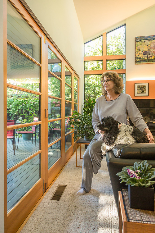 """I am a very visual person with an interest in Math.""  -Architect and design and construction management organizer Pam Kinzie in the house she designed on North Oak in Calistoga"
