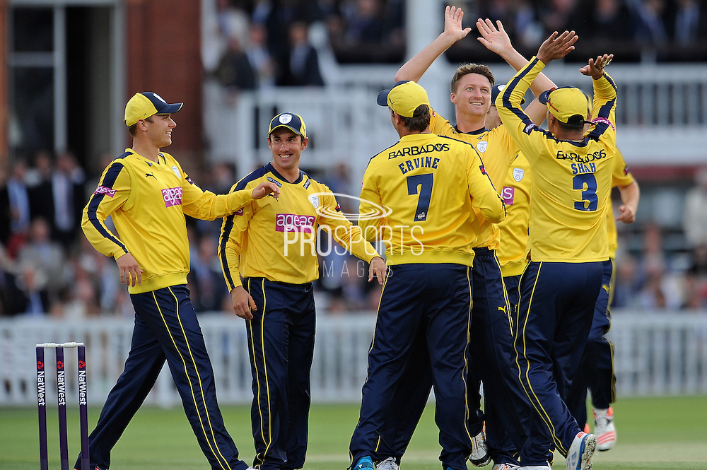 Hampshire Jackson Bird celebrates the wicket of Nick Gubbins during the NatWest T20 Blast South Group match between Middlesex County Cricket Club and Hampshire County Cricket Club at Lord's Cricket Ground, St John's Wood, United Kingdom on 18 June 2015. Photo by David Vokes.