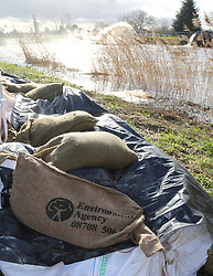 Environment Agency sandbags on the banks of the River Parrett at Burrow Bridge in Somerset, United Kingdom, Monday, 10th February 2014. Picture by Roger Allen / i-Images