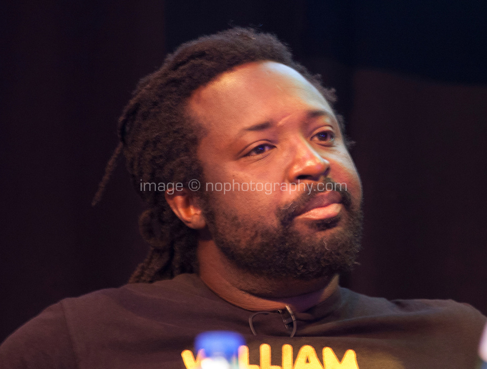 Writer Marlon James discussing 'Free Speech and Cultural Appropriation' at the Dalkey Book Festival, Dalkey, County Dublin, Ireland, Sunday 18th June 2017. Photo credit: Doreen Kennedy