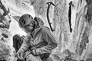 Bruce Hendricks gearing up for an ascent of Murchsion Falls, Jasper National Park, Alberta Canada
