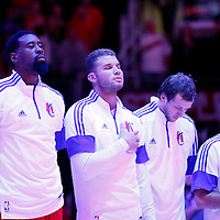 24 October 2014: Los Angeles Clippers center DeAndre Jordan (6) and Los Angeles Clippers forward Blake Griffin (32) stand during the national anthem prior to the Portland Trail Blazers 99-89 victory over the Los Angeles Clippers, in a preseason game, at the Staples Center, Los Angeles, California, USA.