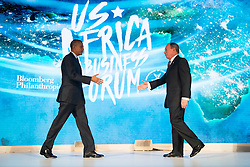 NEW YORK, NEW YORK - SEPTEMBER 21: U.S. President Barack Obama shakes hands with former New York City mayor Michael Bloomberg before speaking at the U.S.-Africa Business Forum at the Plaza Hotel, September 21, 2016 in New York City. The forum is focused on trade and investment opportunities on the African continent for African heads of government and American business leaders. Photo by Drew Angerer/Pool/ABACAPRESS.COM