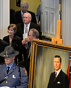 Former Georgia governors Sonny Perdue, center, and Roy Barnes, rear, enter a memorial service for Georgia Gov. Carl Sanders at Second Ponce de Leon Baptist Church on Saturday, Nov. 22, 2014, in Atlanta. Six living Georgia governors attending the service included current Gov. Nathan Deal and former governors Sonny Perdue, Roy Barnes, Zell Miller, Joe Frank Harris and Jimmy Carter. Photo by David Tulis