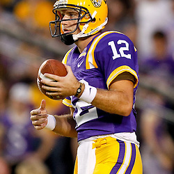 November 13, 2010; Baton Rouge, LA, USA; LSU Tigers quarterback Jarrett Lee (12) during warm ups prior to kickoff of a game against the Louisiana Monroe Warhawks at Tiger Stadium.  Mandatory Credit: Derick E. Hingle