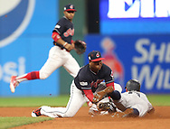 October 11, 2017 - Cleveland, OH, USA - Cleveland Indians second baseman Jose Ramirez tags out the New York Yankees' Brett Gardner on an attempted stolen base in the seventh inning during Game 5 of the American League Division Series, Wenesday, Oct. 11, 2017, at Progressive Field in Cleveland. (Credit Image: © Phil Masturzo/TNS via ZUMA Wire)