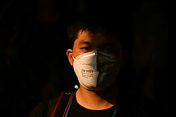 March 17, 2020, Bangkok, Thailand: A man wearing a face mask at Wat Suthat to protect himself against the coronavirus (Covid-19). 30 new cases of the Covid-19 has been confirmed by the Public Health Ministry of Thailand today, which now raised the total number of infections to 177 since the beginning of the outbreak. (Credit Image: © Amphol Thongmueangluang/SOPA Images via ZUMA Wire)