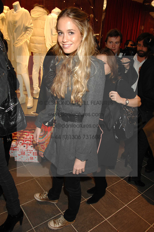 FLORENCE BRUDENELL-BRUCE at a party to celebrate the opening of the new Uniqlo store at 331 Oxford Street, London W1 on 6th November 2007.<br />