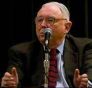 Omaha, Neb 5/7/06 Charlie Munger answers questions at the Berkshire Hathaway annual meeting press conference at the Marriott Hotel Sunday afternoon..(Chris Machian/For Bloomberg News)