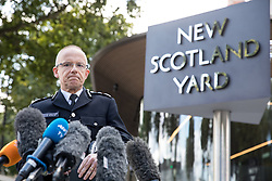 © Licensed to London News Pictures. 15/09/2017. London, UK. Assistant Commissioner Mark Rowley gives a statement outside New Scotland Yard regarding this morning's terror incident in Parsons Green underground station. Photo credit : Tom Nicholson/LNP