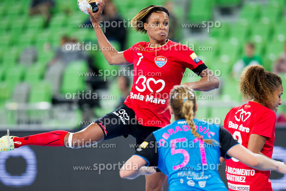Vesna Milanovic-Litre of RK Krim Mercator during handball match between RK Krim Mercator (SLO) and HCM Baia Mare (ROM) in 1st Round of Women's EHF Champions League 2015/16, on October 16, 2015 in Arena Stozice, Ljubljana, Slovenia. Photo by Urban Urbanc / Sportida