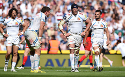 Exeter Chiefs players cut dejected figures after conceding a later try  - Mandatory by-line: Joe Meredith/JMP - 28/05/2016 - RUGBY - Twickenham - London, England - Saracens v Exeter Chiefs - Aviva Premiership Final