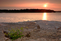 Sunset over Fossil Beds and Ohio River, The Falls of the Ohio State Park, Indiana