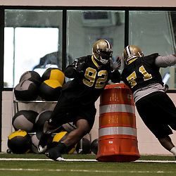 21 May 2009: Saints defensive tackles Remi Ayodele (92) and Kendrick Clancy (71) participate in drills during the New Orleans Saints Organized Team Activities (OTA's) held at the team's indoor practice facility in Metairie, Louisiana.