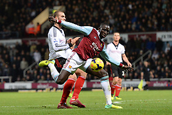 West Ham United's Mohamed Diame takes a shot at goal - Photo mandatory by-line: Mitch Gunn/JMP - Tel: Mobile: 07966 386802 30/11/2013 - SPORT - Football - Boleyn Ground - London - West Ham United v Fulham - Barclays Premier League