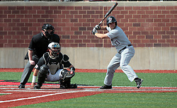 26 April 2014:  Parker Osborne bats in front of catcher Mike Hollenbeck and umpire Bret Bruington during an NCAA Division 1 Missouri Valley Conference (MVC) Baseball game between the Southern Illinois Salukis and the Illinois State Redbirds in Duffy Bass Field, Normal IL