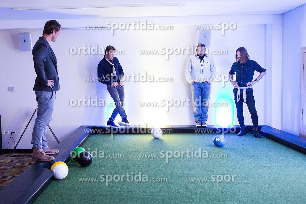 Visitors playing billiards with footbal balls during Sports marketing and sponsorship conference Sporto 2015, on November 19, 2015 in Hotel Slovenija, Congress centre, Portoroz / Portorose, Slovenia. Photo by Vid Ponikvar / Sportida