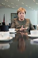 13 SEP 2017, BERLIN/GERMANY:<br /> Angela Merkel, CDU, Bundeskanzlerin, waehrend einem Interview, in Ihrem Buero, Bundeskanzlerin<br /> IMAGE: 20170917-01-002<br /> KEYWORDS: B&uuml;ro