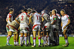 The Ulster team have a word under the posts after conceding a try - Photo mandatory by-line: Patrick Khachfe/JMP - Tel: Mobile: 07966 386802 18/01/2014 - SPORT - RUGBY UNION - Welford Road, Leicester - Leicester Tigers v Ulster Rugby - Heineken Cup.