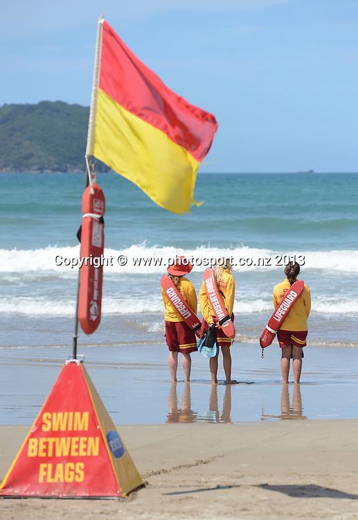 Life Guards on duty. Surf Lifesaving, Pauanui, New Zealand. 2013