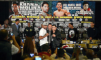 Dec 12,2012. Los Angeles CA. USA.. Amir Khan(L), Oscar De La Hoya(C.) poses with Carlos Molina(R.). The fight will be scene on ShowTime live from the Los Angeles Sports Arena Saturday  Dec 10th.  Photo by Gene Blevins/LA Daily News
