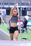 Annie Rhodes places second in the women's pole vault at 14-11½  (4.56m) during the USA Indoor Track and Field Championships in Staten Island, NY, Sunday, Feb 24, 2019. (Rich Graessle/Image of Sport)