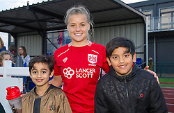 Goal scorer Olivia Fergusson of Bristol City Women poses with young fans at Stoke Gifford Stadium - Mandatory by-line: Paul Knight/JMP - 24/09/2016 - FOOTBALL - Stoke Gifford Stadium - Bristol, England - Bristol City Women v Durham Ladies - FA Women's Super League 2
