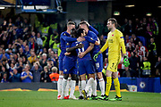 Chelsea players celebrate after Chelsea FC forward Oliver Giroud (18) scores during the Europa League quarter-final, leg 2 of 2 match between Chelsea and Slavia Prague at Stamford Bridge, London, England on 18 April 2019.