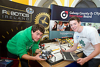 David Sciascia and Tadgh O Connor from  Colaiste Na Coiribe,  Co. Galway at the Science and Technology Festival programme launch at NUI, Galway  by Mr. William Hawkins, Chairman and CEO of Medtronic Inc., who employ 2000 people in Ireland and 44,000 worldwide in the Medical devices sector. The Festival runs from the 8th till the 21st of November in County Galway. Photo:Andrew Downes. .