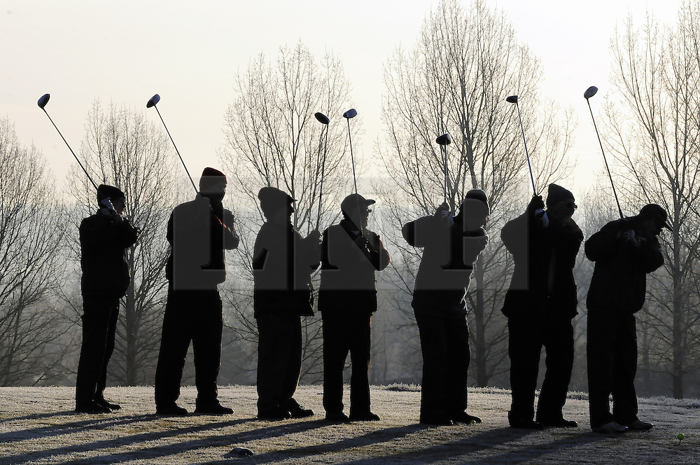 © Licensed to London News Pictures. 12/12/2012.Ice and freezing temperatures across the south east and Kent today (12.12.12)..Golfers from the Niners Club (an elderly mens club) at Orpington Golf Centre in Kent brave the freezing temperatures this morning (12.12.12) for the love of the game..Photo credit : Grant Falvey/LNP