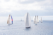 Highland Breeze, Unfurled, Liara, and Rebecca sailing in the 2010 St. Barth's Bucket superyacht regatta, race 3.