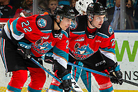 KELOWNA, BC - OCTOBER 12: Jake Lee #21 and Dillon Hamaliuk #22 of the Kelowna Rockets line up against the Kamloops Blazers at Prospera Place on October 12, 2019 in Kelowna, Canada. (Photo by Marissa Baecker/Shoot the Breeze)