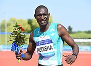 David Rudisha (KEN) poses after winning the 600m in a national record 1:13.10 during IAAF Birmingham Diamond League meeting at Alexander Stadium on Sunday, June 5, 2016, in Birmingham, United Kingdom. Photo by Jiro Mochizuki